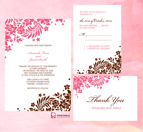 Foliage Borders Invitation, Rsvp And Thank You Cards ← Wedding