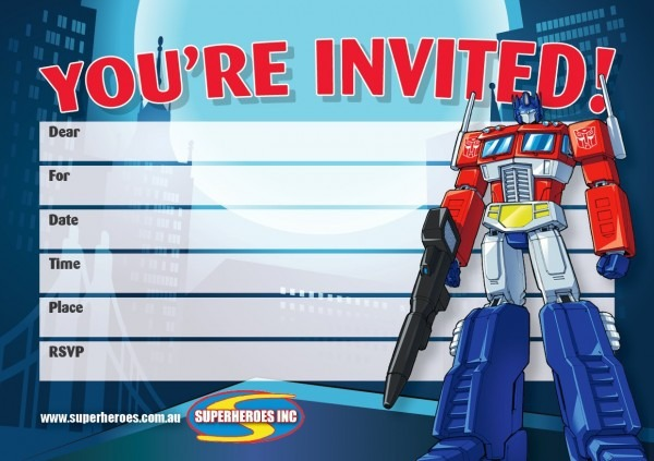 Free Downloadable Transformers Optimus Prime Birthday Party