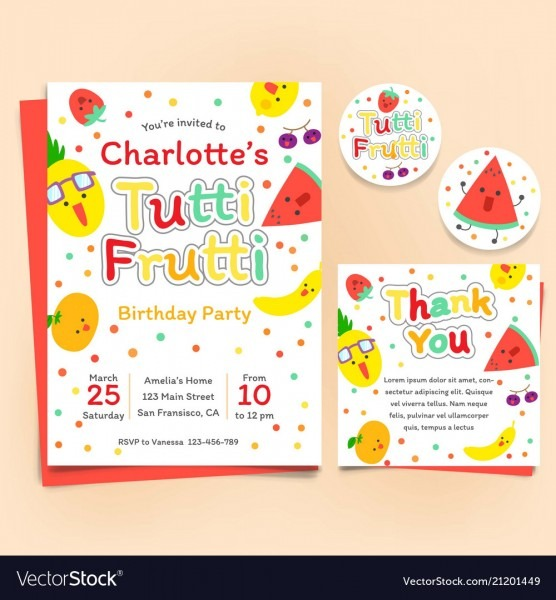 Fruits Theme Birthday Invitation Set Tutti Frutti Vector Image