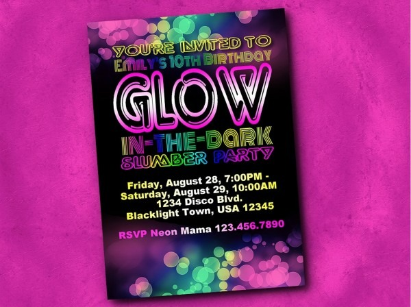 Party Invitation Template Glow In The Dark Party Invitations Party