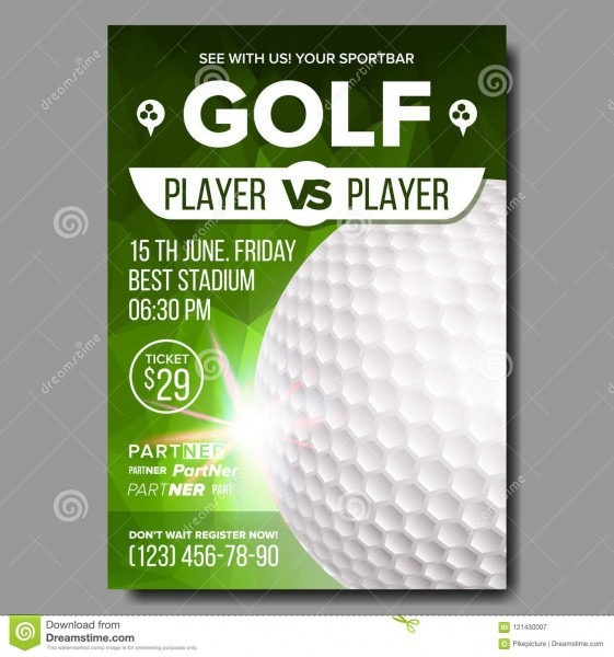 Golf Poster Vector  Sport Event Announcement  Banner Advertising