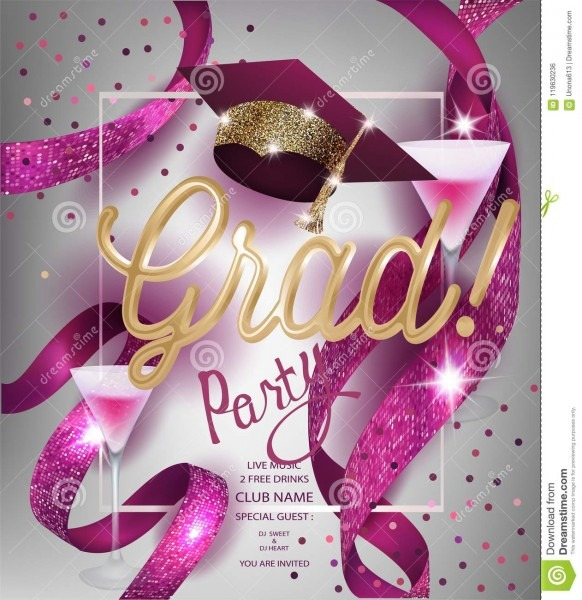 Grad Party Invitation Card With Sparkling Ribbons, Glasses Of