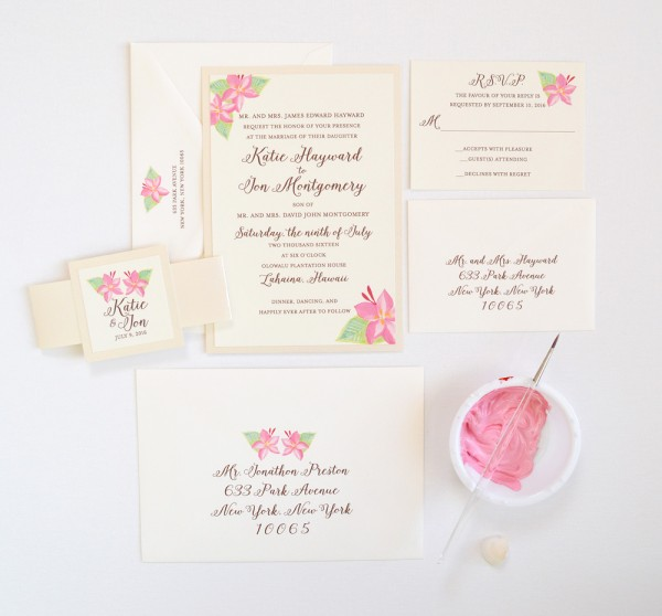 Tropical Pink Floral Wedding Invitations