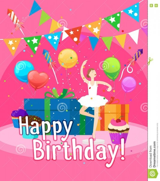 Happy Birthday Card Template For Girl Stock Vector
