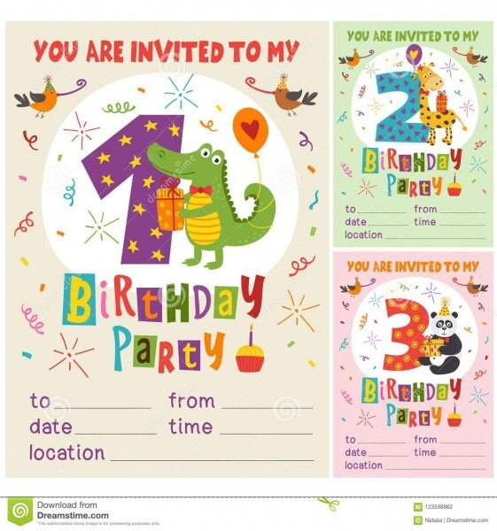 Happy Birthday Invitation Card Template With Funny Animals From 1