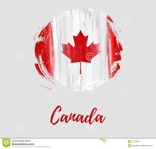 Background With Canada Flag In Grunge Round Shape Stock Vector