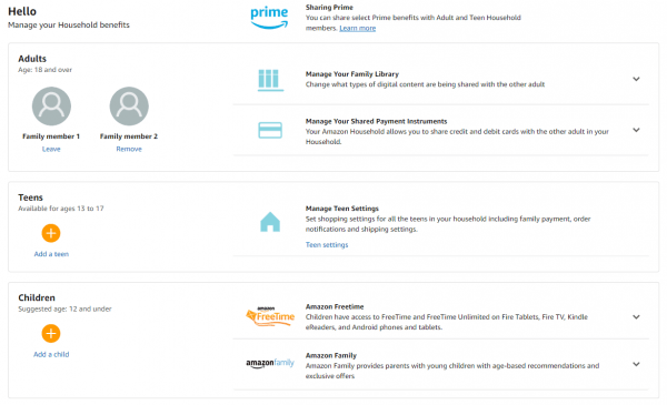 Share Prime Benefits And Digital Content With Amazon Household