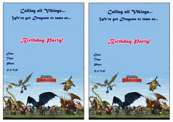 How To Train Your Dragon Birthday Invitations