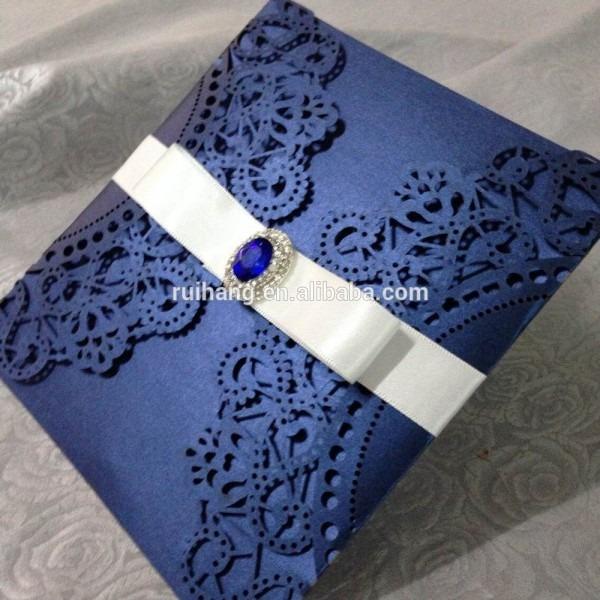 Navy Blue &ivory With Silk Ribbon And Diamond Laser Cut Wedding