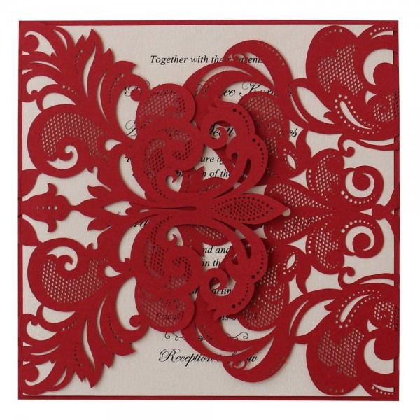 Buy Ido Classic Red Wedding Invitation With Pink Insert, Luxury