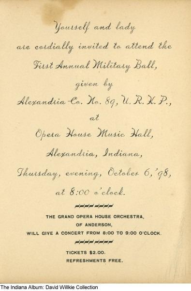 Knights Of Pythias Military Ball Invitation, Alexandria, Indiana