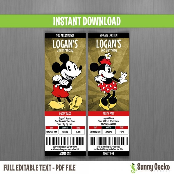Ideas Disney Vintage Minnie & Mickey Birthday Ticket Invitations