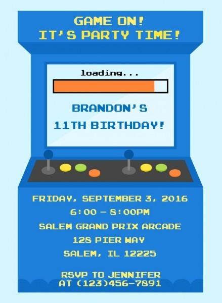 Arcade Party Invitation Digital File   Video Game Birthday