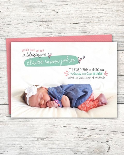 Baby Blessing Invitation Lds