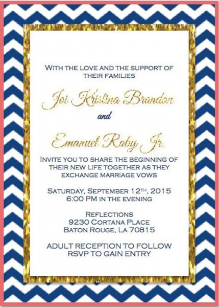 Navy Coral And Gold Chevron Wedding Invitation