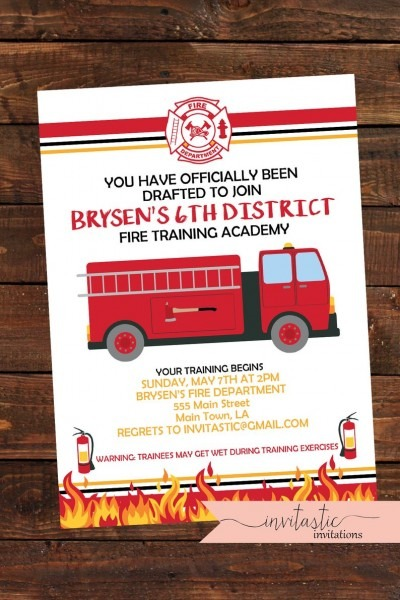 Fireman Birthday Invitation Big Kid Fire Birthday Fire