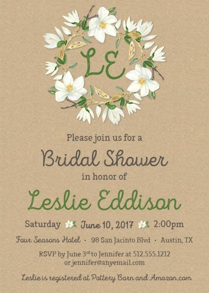 Magnolia Flower Bridal Shower Invitation Printable Or