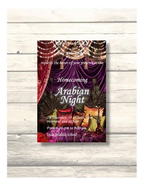 Arabian Night School Dance Prom Invitation Homecoming Card