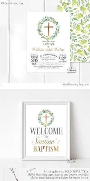 Greenery Baptism Invitation Boy Christening Invite Green And
