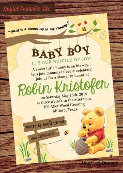 Winnie The Pooh Baby Shower Invitation   Winnie Pooh Invite