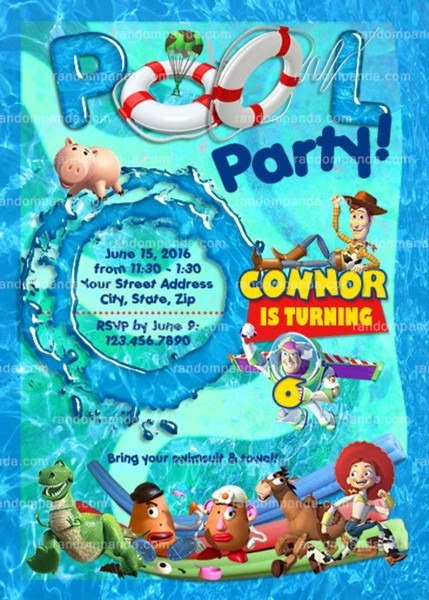 Toy Story Pool Party Invitation Buzz Lightyear Swimming