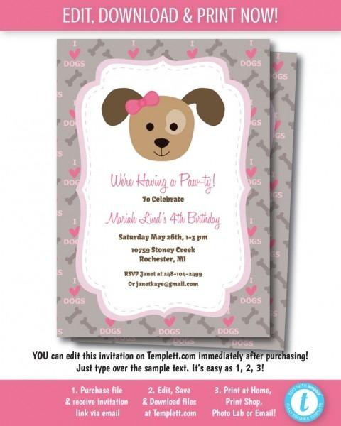 Puppy Party Invitation Printable Dog Party Invitation
