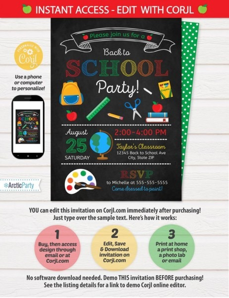 Back To School Party Invitation Back To School Invitation