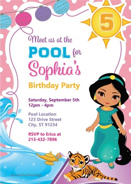 Princess Jasmine Birthday Invite Aladdin Pool Party