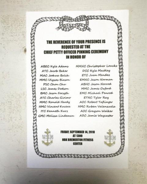 Navy Chief Petty Officer Pinning Ceremony Invitations