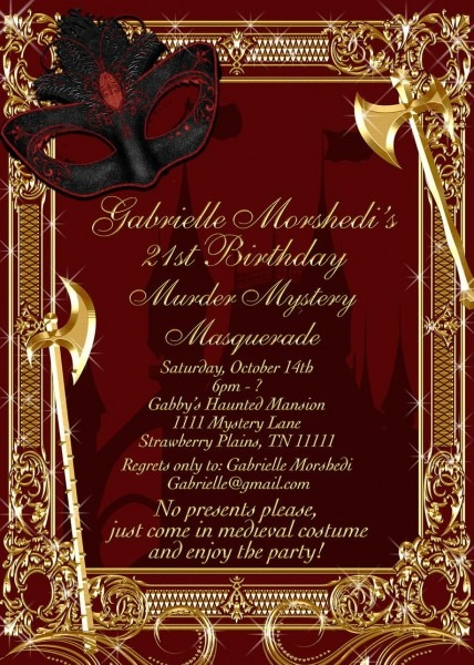Murder Mystery Invitation Masquerade Party Invitation Murder