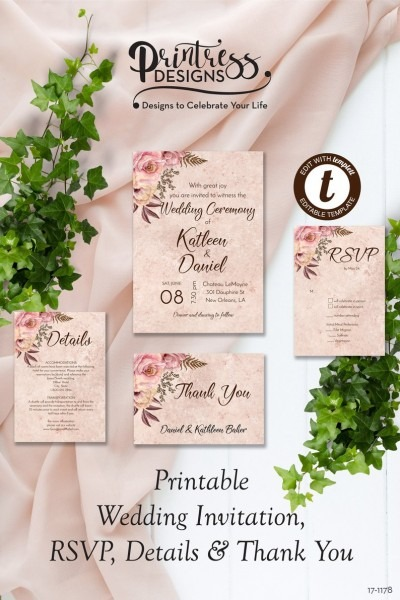 Autumn Rose Wedding Invitation Suite Floral Wedding Invite