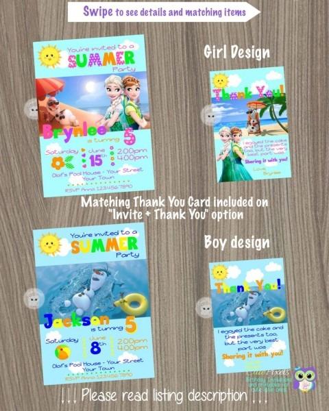 Frozen Summer Invitation Frozen Invitation Disney Frozen