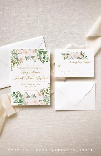Dusty Blue Blush Invitation Suite Summer Wedding Invitation