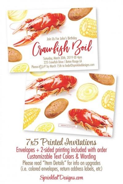 Crawfish Boil Invitation Watercolor Crawfish Invitation