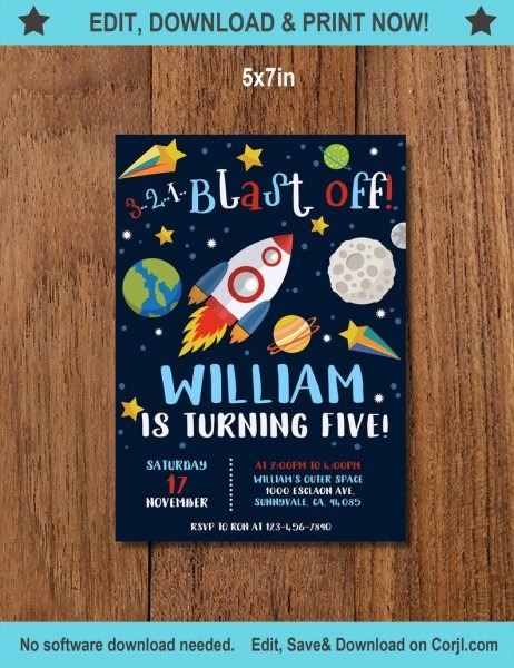 Outer Space Invitation  Space Birthday Invitation  Astronaut