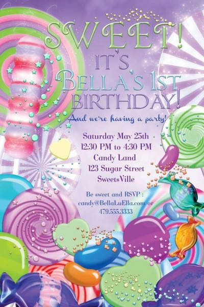 Candyland Birthday Party Invitation Party Invitations Candy
