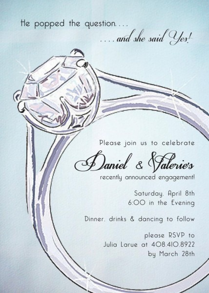 Engagement Ring Party Invitation Sets Free Custom Colors