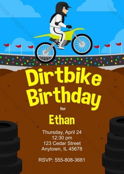 Dirtbike Motocross Birthday Invitation Printable Design