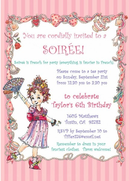Fancy Nancy Party Invitation   5xx7 You