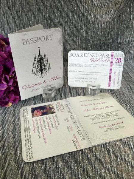 Passport Wedding Invitation Glitz & Glam Wedding Invitation