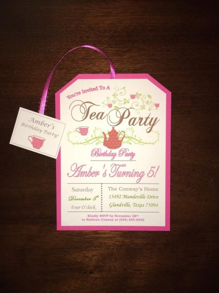 Little Girl's Pink Tea Party Birthday Invitations 5 Years