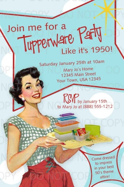 Printable Diy 50's Retro Housewife Theme Tupperware Party