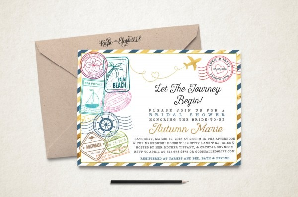 Travel Bridal Shower Invitation Traveling From Miss To Mrs