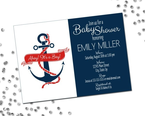 Nautical Baby Shower Invitation Ahoy Its A Boy Anchor