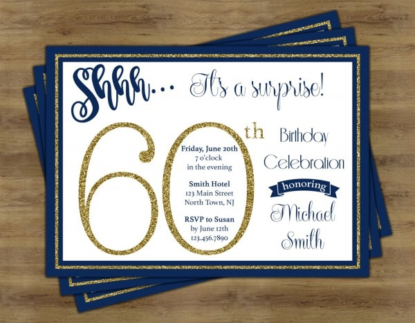 Surprise 60th Birthday Invitation Surprise Birthday