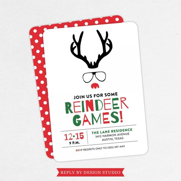 Funny Christmas Party Invitations Reindeer Games Invitations