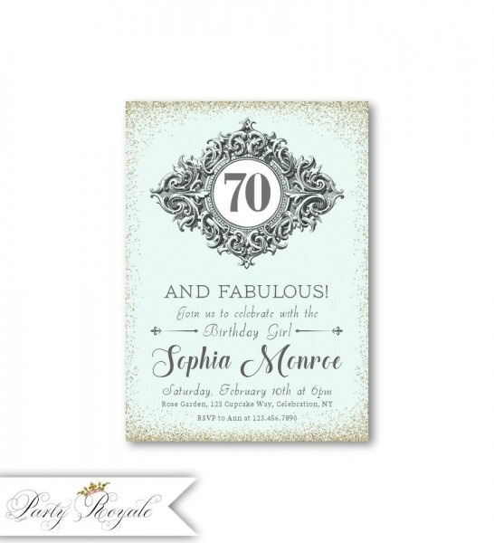 Elegant 70th Birthday Invitations For Women   70 And Fabulous