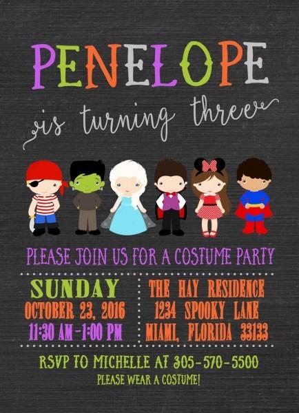 Kids Halloween Party Invitation, Halloween Birthday Party Invitation