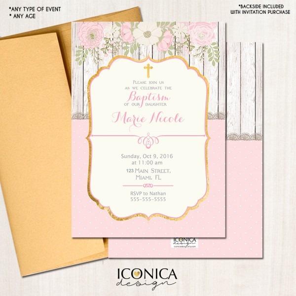 Baptism Invitations Floral Rustic Invite Romantic