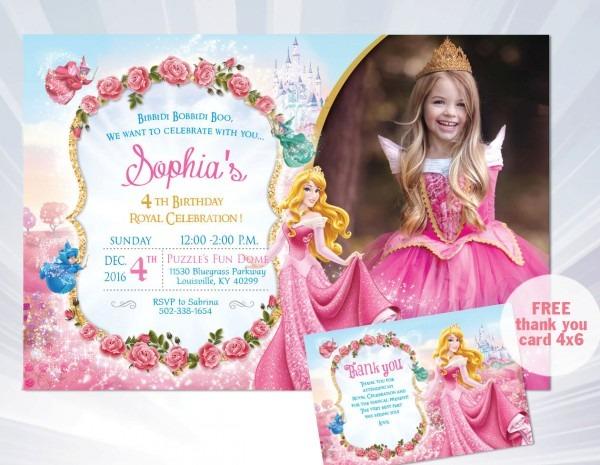 Princess Aurora Invitation Princess Invitation Princess